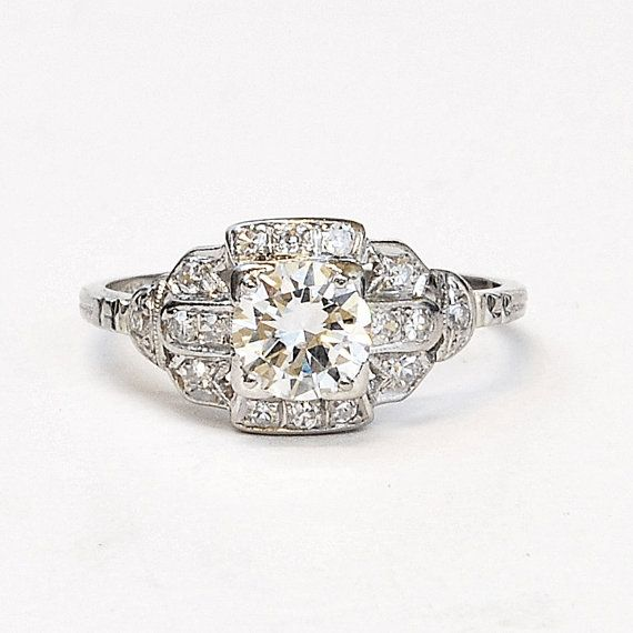 Vintage 1940s Platinum and Diamond Engagement by SITFineJewelry, $13950.00