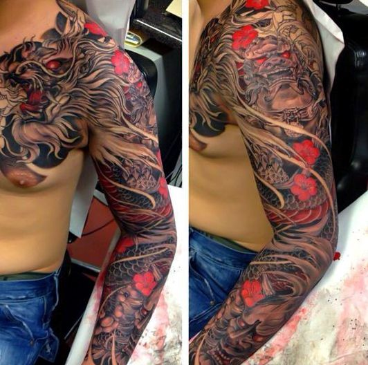 Mens Black And Red Cherry Blossom Sleeve Tattoos