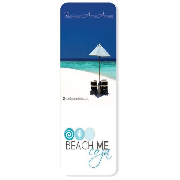 Book mark with full colour print on one side only This bookmark-sized magnet is ideal for all branding purposes