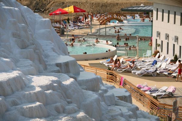 "Saliris resort, Egerszalók - 17 pool thermal spa with a natural formation built by the hot water, called ""Salt Hill"" #hungary"