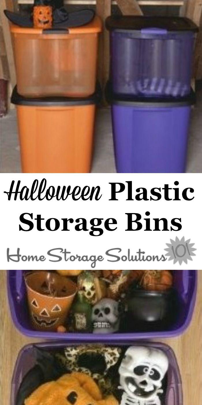 halloween plastic storage bins: store your halloween decorations in