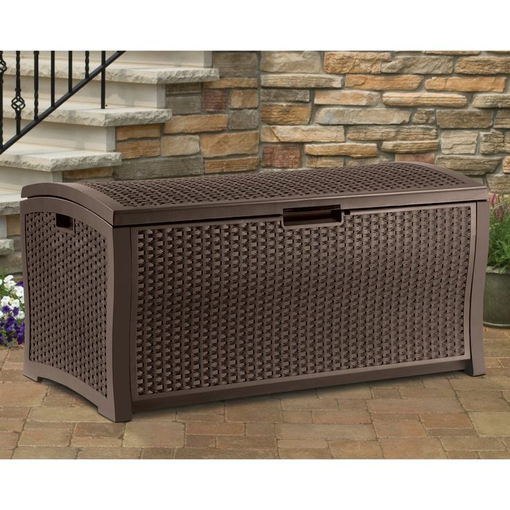 Suncast Resin 99-Gallon Deck Box - Mocha Brown - DBW9200 - With 99 gallons of storage space, you can load up the Suncast Resin 99-Gallon Deck Box in Mocha Brown,  with all your outdoor gear. Garden...