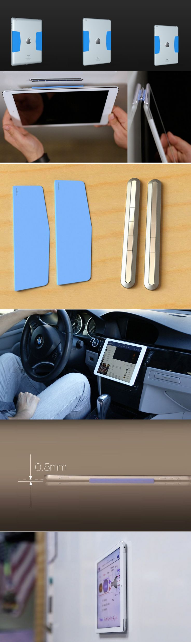 World's thinnest iPad mount for your car, kitchen & anywhere else. Provides the perfect grip. Protects your iPad. Snaps the SmartCover to the back.