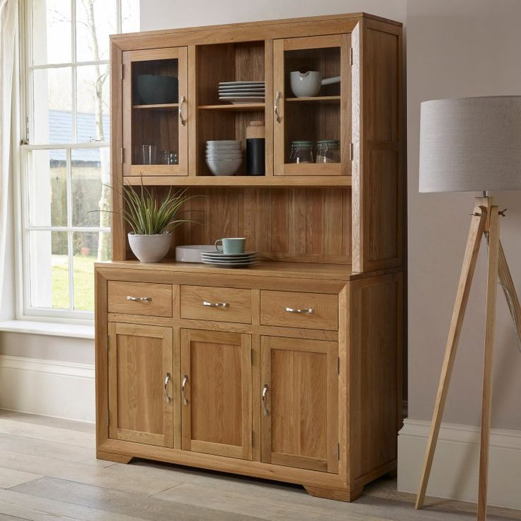 Contemporary, stylish and exceptionally well made Solid Oak Dresser. Our Bevel Large Welsh Dresser is ideal for any small or large Kitchen, Dining or Living Room. Sales Now On.