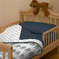Navy and Gray Elephants Toddler Bed Comforter 250x250 image