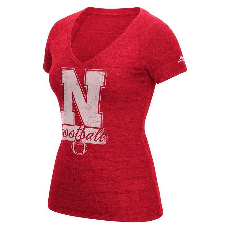 Women's Adidas Nebraska Cornhuskers Football Tee, Size: Medium, Red