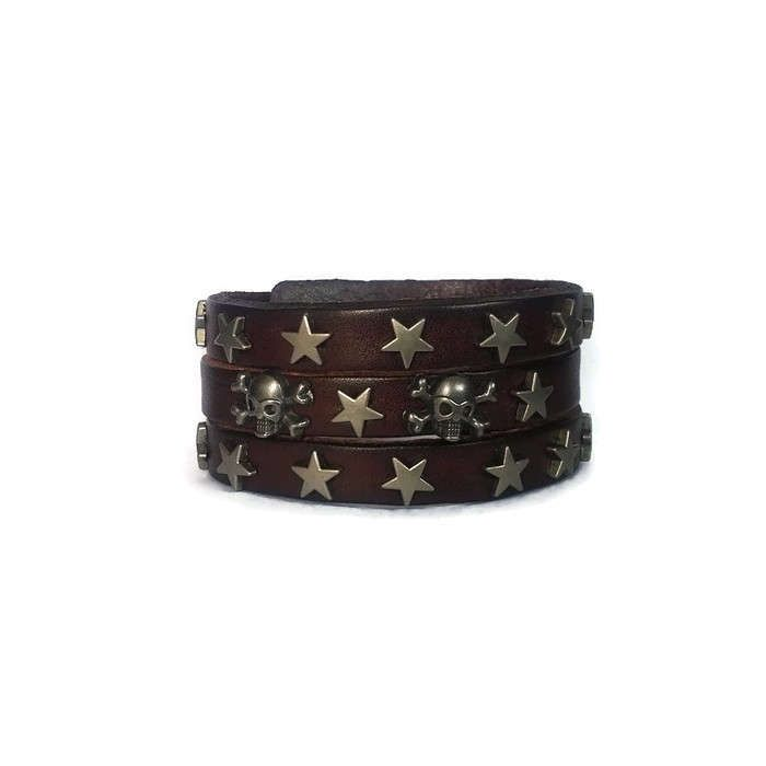 Brown Leather Mens Skull Crossbones Cuff Bracelet, Brown Mens Leather Gift, Gift for a Boyfriend, Mens Skull Jewelry, Human Skull Bracelet