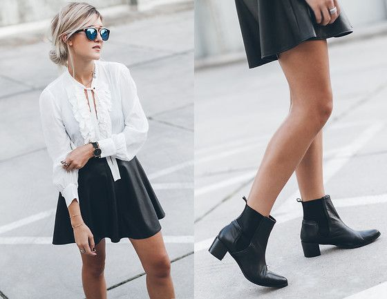 Get this look: http://lb.nu/look/7714474  More looks by Mikuta: http://lb.nu/mikuta  Items in this look:  Zara Shirt, Asos Skirt, Zero Uv Sunglasses, Henry Kole Boots   #casual #chic #street