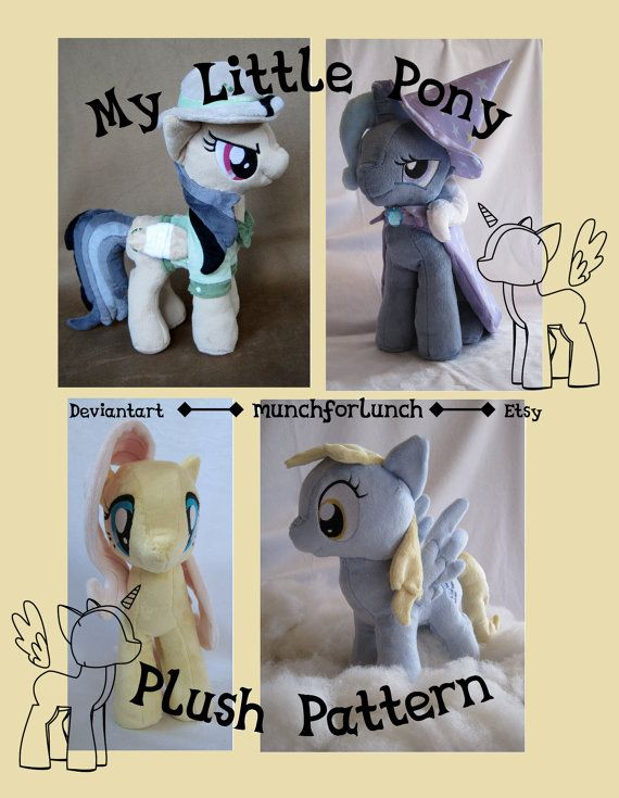 ** THIS IS FOR A PATTERN AND TUTORIAL ONLY. The ponies shown are examples of plush made with this pattern. **    This listing comes complete with