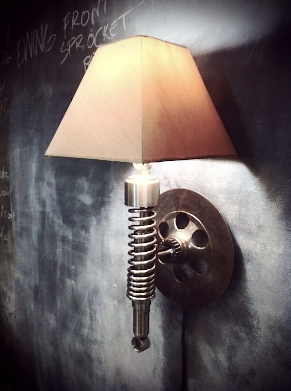 Moto Wall mounted Shock Lamp!! If I had a man Cave this would be on the wall.  #Man #Cave #Garage