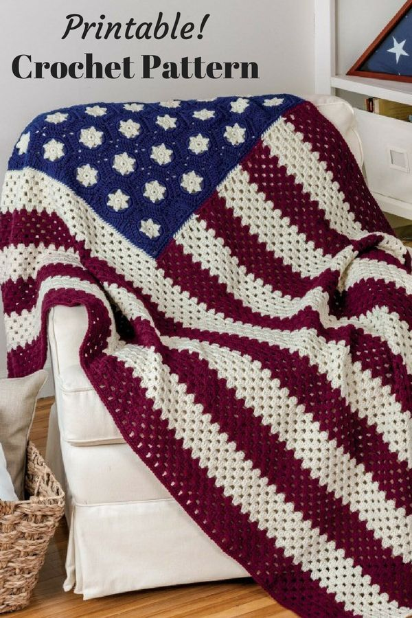 American Flag Afghan Crochet Pattern Printable Honor Your Veterans With This Flag Blanket Gif Afghan Crochet Patterns Crochet For Beginners Blanket Crochet