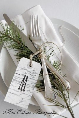Personalized tags to designate place settings - this one in a White Christmas tablescape.