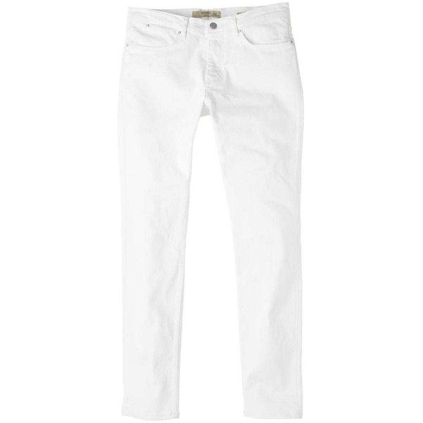 Slim-Fit White Partrick Jeans ($34) ❤ liked on Polyvore featuring men's fashion, men's clothing, men's jeans, mens slim jeans, mens zipper jeans, mens white jeans, mens slim cut jeans and mens slim fit jeans