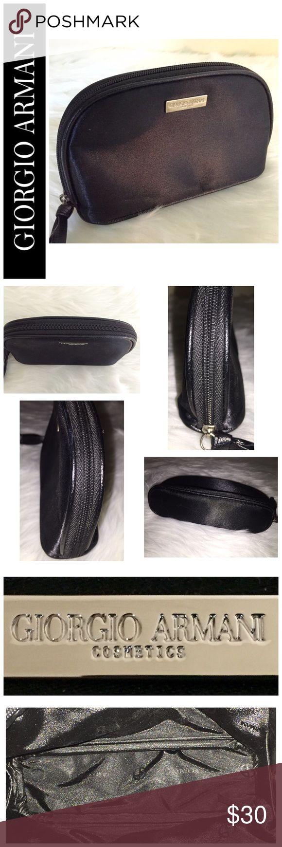 "Giorgio Armani Designer Cosmetic Bag Beautiful Giorgio Armani Designer Cosmetic Bag in Elegant Black Nylon, Approx. Size is 6 1/2""x 3 3/4""x 1 3/4"", NWOT Giorgio Armani Bags Cosmetic Bags & Cases"