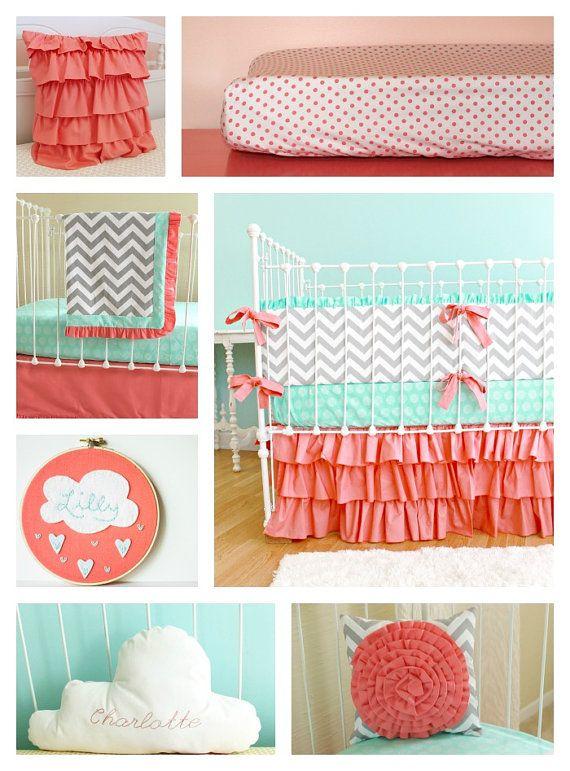 Sweet Sorbet Chevron Custom Crib bedding by LottieDaBaby on Etsy - very cute girl stuff!