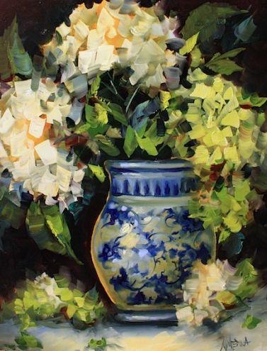 "Spring Green Hydrangeas"": Nancy Medina, Texas Flower Artist."