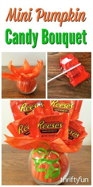 Making a Mini Pumpkin Candy Bouquet