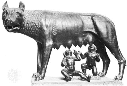A dog saved Romulus and Remus from a river.