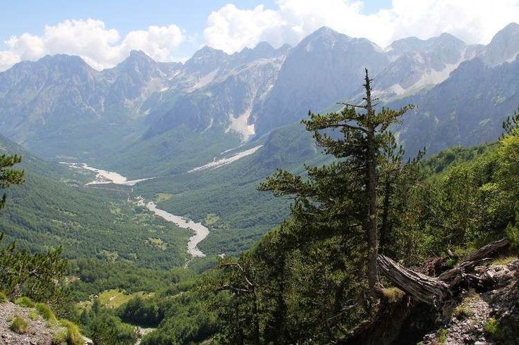 Looking back towards the Valbona River from the mountainside. Image by Tom Masters / Lonely Planet