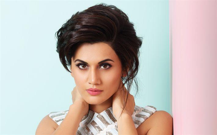 Lataa kuva Taapsee Pannu, Intialainen näyttelijä, Bollywood, muotokuva, kauniit silmät, ruskeaverikkö, Intialaiset naiset