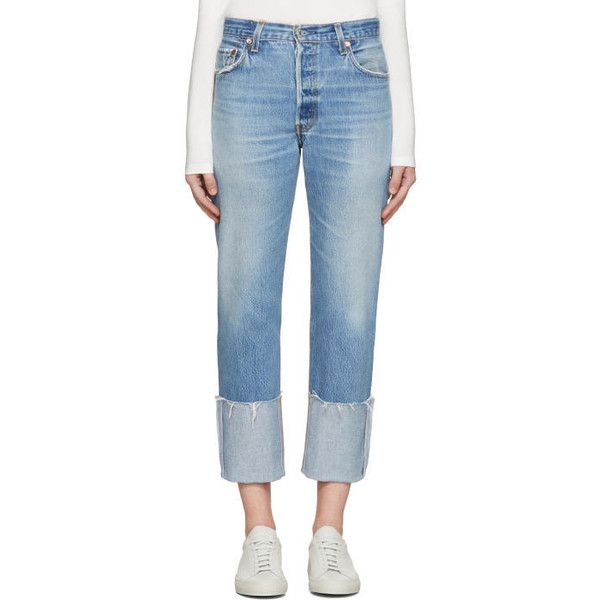 Re-Done Blue High-Rise Cuffed Jeans (€265) ❤ liked on Polyvore featuring jeans, blue, vintage high waisted jeans, distressed jeans, blue jeans, blue denim jeans and high waisted destroyed jeans