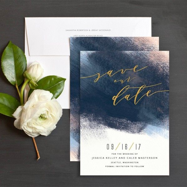 Modern Brushstroke Save The Date Cards in navy and blush   Elli