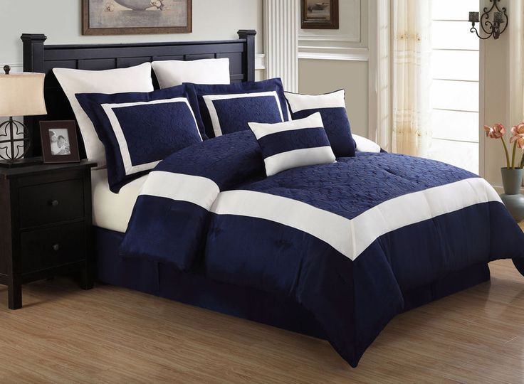 8 Piece Navy Blue & White Blocked King Size Comforter Set #Modern