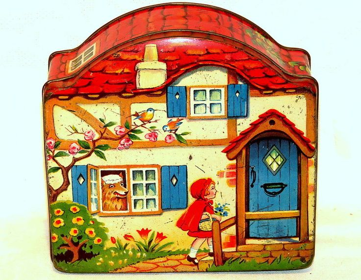Red Riding Hood House Shape Dainty Dinah Horner Toffee Candy Tin 1930
