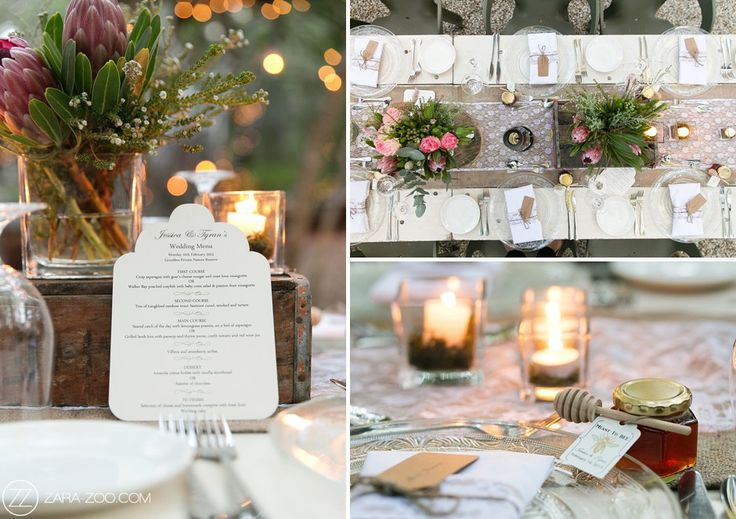 Wedding reception table decor at Grootbos Nature reserve #forest #wedding #lace #hessian #protea #fynbos #favors