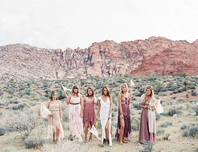 South Nevada Boho Elopement - Free People bridesmaid dresses
