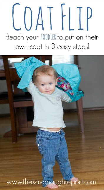 The Montessori Coat Flip -- teach your toddler to put on their own coat in 3 easy steps. This is one simple way to promote independence with young kids!