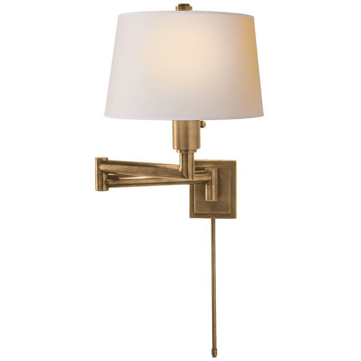chunky swing arm in brass with linen shade