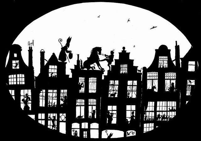 Sinterklaas en zijn Maatje Piet aan het werk ~ Silhouette /Sjabloon/ Poster ~ Amerigo wil niet altijd zulke moeilijke sprongen wagen ;-D ....en zie jij de hulp Sinterklazen?....Vol verwachting klopt ons hart, blijf kijken bij het raam mischien zie jij wat?