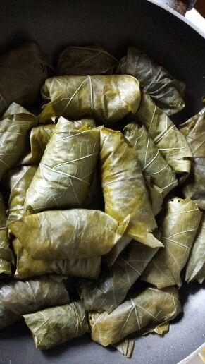 Dolmadakias - involtini di vite alla greca, con riso alle erbe e salsa al limone