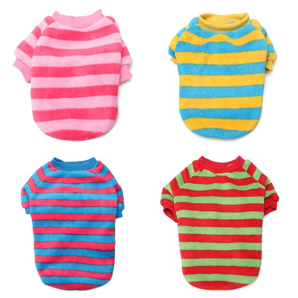 Adorable Colorful Stripes Pet Dog Colorful Tee Shirts $4.54 each free shipping