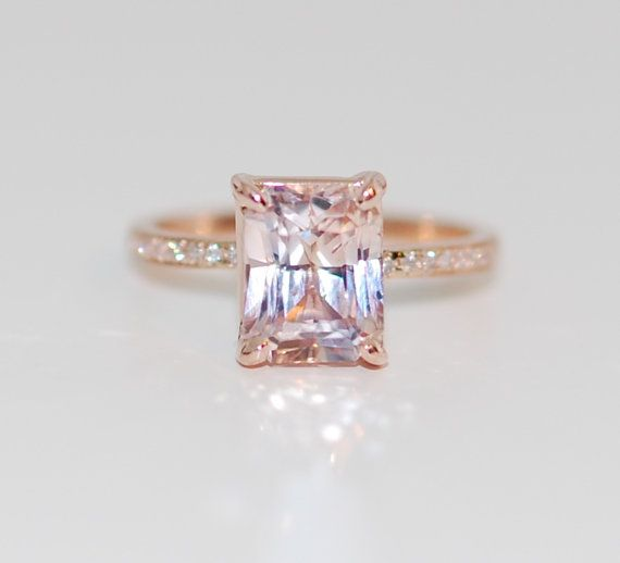 Blake Lively ring Peach Sapphire Engagement Ring emerald cut 14k rose gold diamond ring 3.2ct Peach champagne sapphire ring