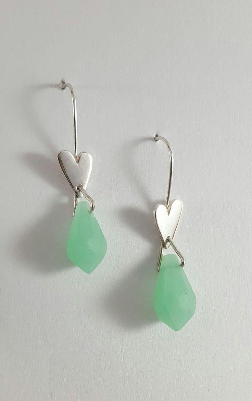 Minty heart earrings, R200.00