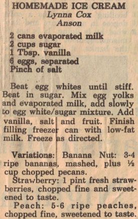 homemade ice cream recipe with variations...links to lots of vintage recipes from newspapers, handwritten recipe cards and vintage cook books