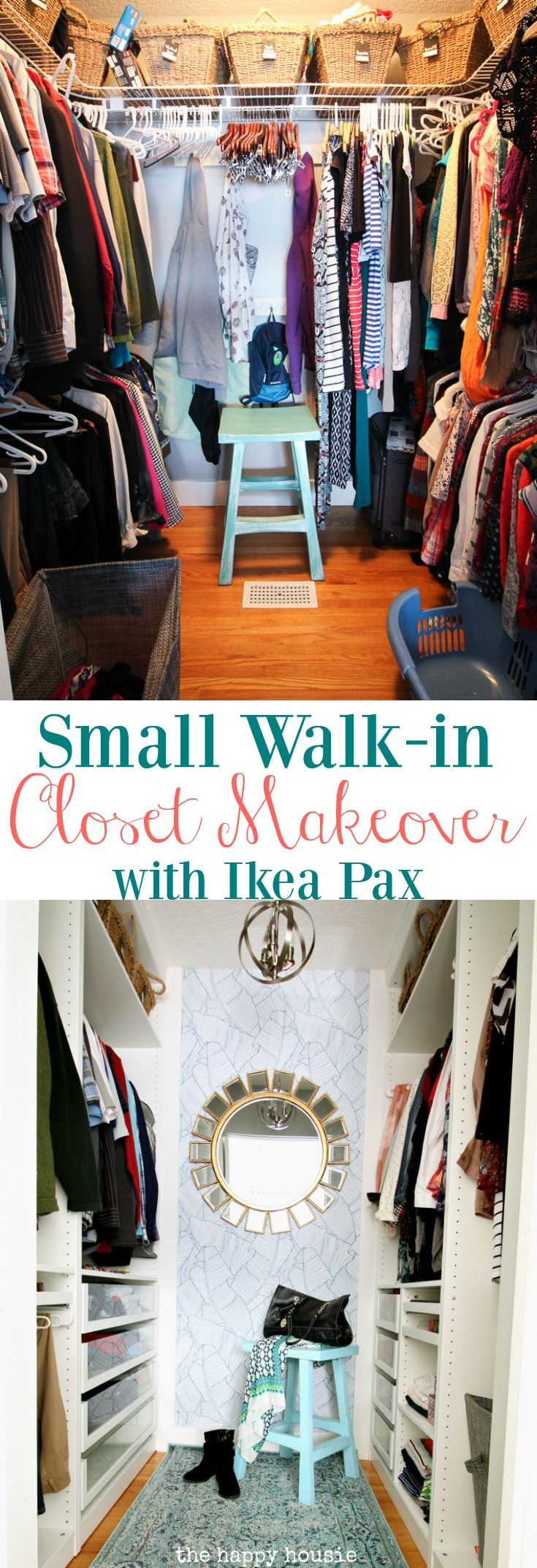 small walkin closet makeover reveal with ikea pax u0026 removable wallpaper
