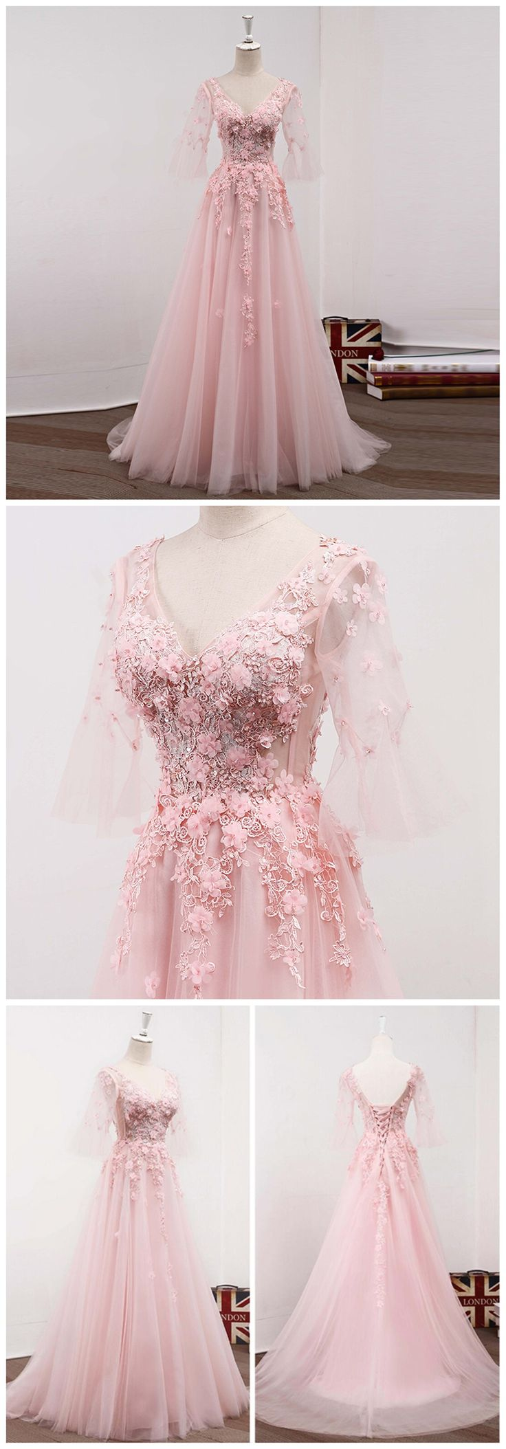 Long Sleeve V Neckline Pink Lace Beaded Evening Prom Dresses, Cheap Long Party Prom Dresses, Custom 2018 Affordable Prom Dresses, 18057