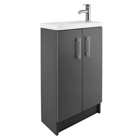 Cleveland 500 Basin And Gloss Grey Floor Standing Vanity Unit | bathstore