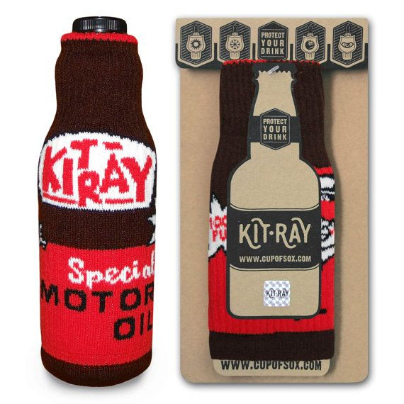 Bottle Cover / Christmas Gifts / Beer Cooler / Gasoline Cozy / Bottle Label / Fuel Tank Cozy / Cover for Bottle / KIT-RAY Special Motor Oil - Kit-Ray for beer and wine - #cupofsox #kitray #cozy #Bawdle #BeerHugger #BottleJacket #ColdyHoldy #DrinksHeath #EasyGifts #BottleCover #MotorOil #VintageDesign #RetroDesign #OldMobile #AmericanCars #GasMonkey #ThingsThatRun #CountingCars #AmericanTruck #AmericaHustle #AmericanPickers