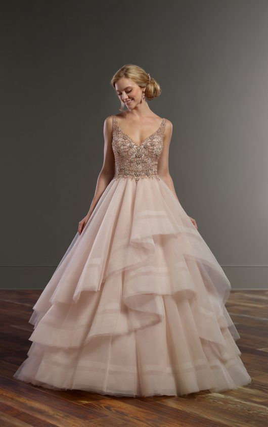 884 Pink Wedding Dress with Rose Gold Beading by Martina Liana