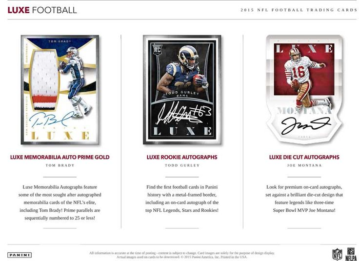 Football collectors: Panini America 2015 Luxe Football coming March 9. Three  autos per box