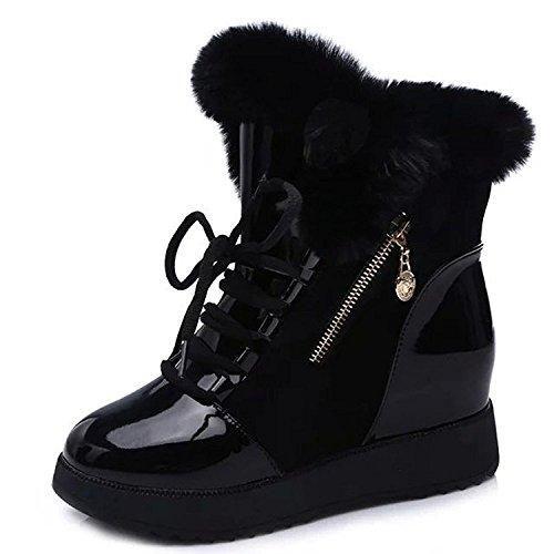 Oferta: 16.9€. Comprar Ofertas de Minetom Mujer Otoño Invierno Calentar Mullido Botas Moda Charol Zapato De Plataforma Cordones Botas De Nieve Negro EU 37 barato. ¡Mira las ofertas!