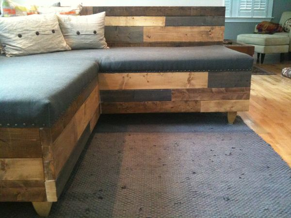 #Custom #Reclaimed Wood Modern Industrial Sofa