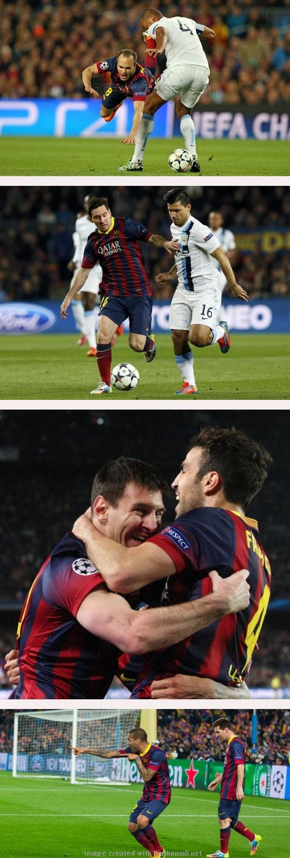 190. Iniesta with his usual all-out effort; Messi moves in attack; Cesc and Leo celebrate Messi's goal (1-0); Alves following his goal at 90:00 to make it a 2-1 victory, 4-1 on aggregate.