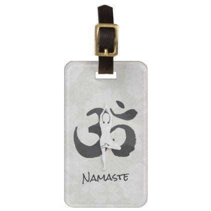 YOGA Instructor Watercolor Meditation Pose Om Sign Bag Tag - yoga health design namaste mind body spirit