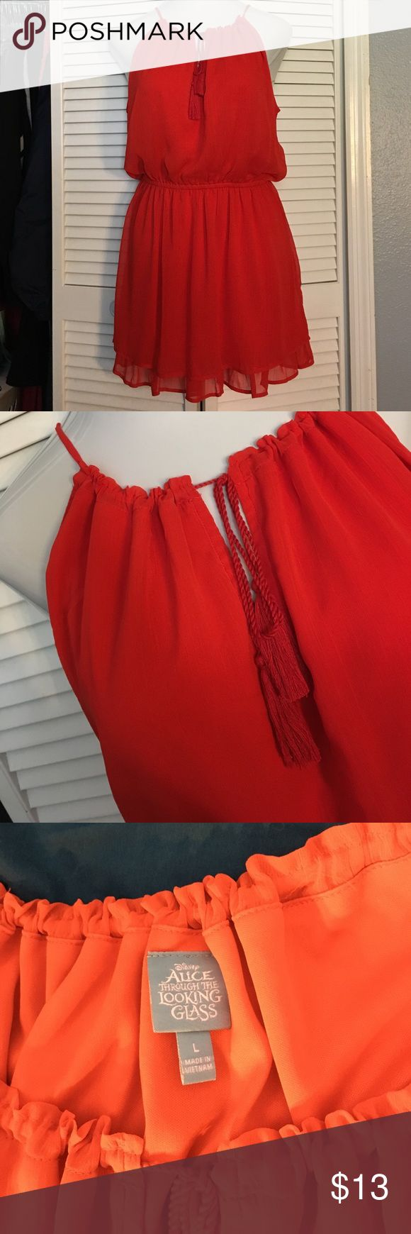 "Bright orange dress Disneys alice through the looking glass line, Adjustable neckline, decorative front tie detail, elastic neckline, chiffon layers, no tags but never worn, armpit to hemline measures 25"" Disney Dresses"