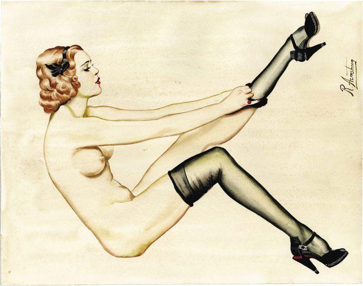 Пин-ап и Гламур Арт, Рольф Армстронг (американский 20-го века). Оригинальный pinupillustration. Акварель на бумаге. 15 x 11 в.. подпись upperrigh...